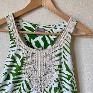 Vanessa Virginia Green Laced Tank Top - size S